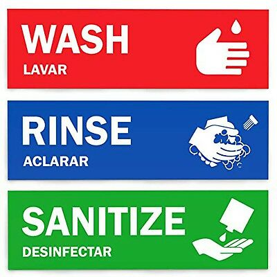 Wash Rinse Sanitize Labels Perfect Sign Stickers for 3 COMPARTMENT SINK