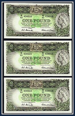 Consecutive Trio Pound notes 1961 Coombs/Wilson HE/63-434514/16 R-34 Reserve