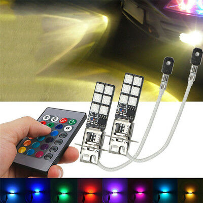 2x H3 5050 RGB 12SMD LED Auto Car Headlight Fog Bulb Lamp Light Remote Control