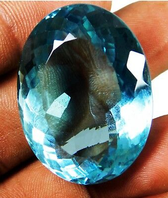 Natural 89.00 Ct Transparent Oval Cut Ocean Blue Aquamarine Loose Gems. 16052