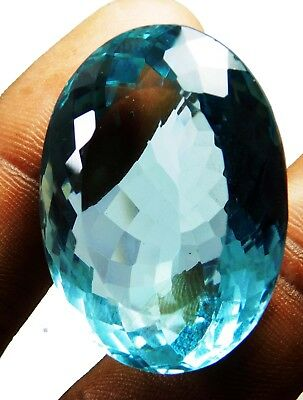 Natural 91.20 Ct Transparent Oval Cut Ocean Blue Aquamarine Loose Gems. 16067