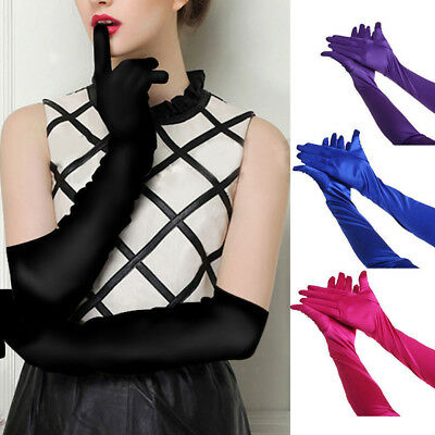 1 Pair Satin Long Gloves Opera Wedding Bridal Evening Party Prom Costume Gloves