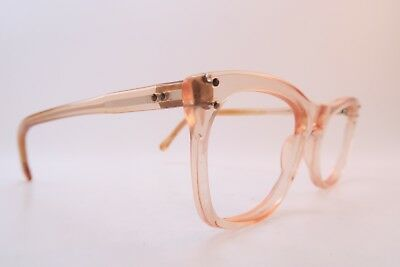 Vintage 50s clear light peach eyeglasses frames Size 48-20 made in England