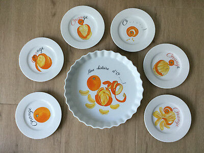 Limoges France Back/Dessertform mit 6 kleinen Tellern - Les historie d'Orange