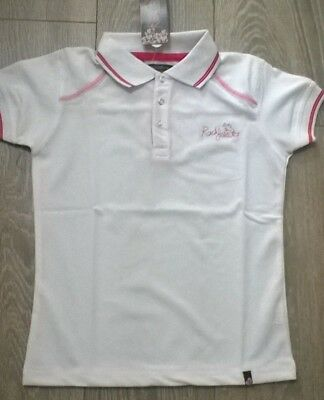 b3e36553b9e95a Ladies polo Tee shirt horse riding Equestrian white Pink NEW Rockfish  Riders NEW