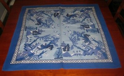 Vintage Supper Cloth ~ Willow Pattern ~ Cotton ~ Square
