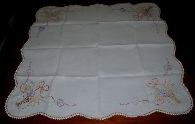 Vintage Hand Embroidered Supper Cloth~Flower Baskets~White~Linen~Square