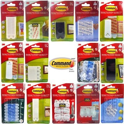Command 3M Adhesive Strips Hooks Clips Small Medium Large Picture Poster Hanging