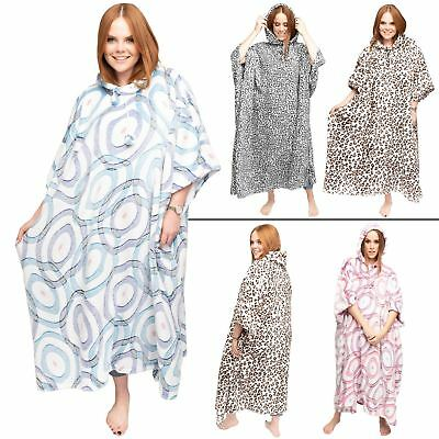 New Womens Poncho Ladies Leopard Abstract Circle Print Loungewer Hooded Blanket