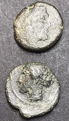 2 X Ancient Greek Unidentified Brass Coins With Details. Approx 200-150BC