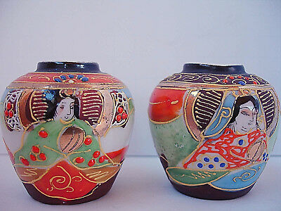 PAIR of VINTAGE JAPANESE Satsuma Pattern Gilded Moriage VASES Immortal Woman