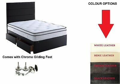4ft6 DOUBLE LEATHER DIVAN BED + MEMORY FOAM SPRING MATTRESS BLACK LEATHER