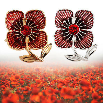 POPPY LAPEL PIN Enamel Badge Brooch Soldier Flags Red Army