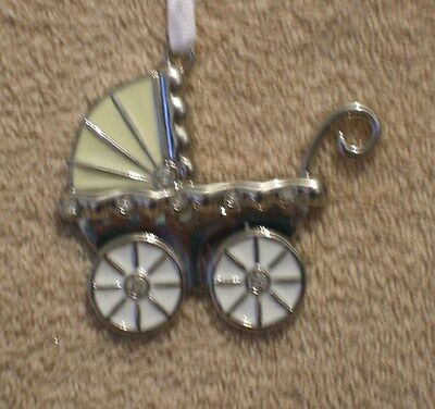 Jeweled Enamel Silver Plated  BABY CARRIAGE Christmas Ornament - NIB