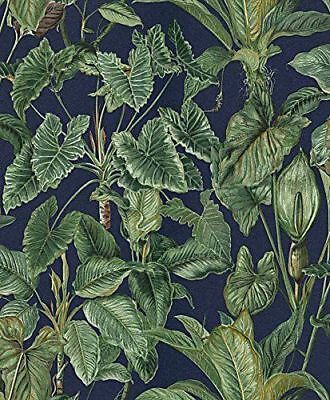 Erismann - Paradisio Tropical Leaves Jungle Wallpaper - Blue / Green 6303-08