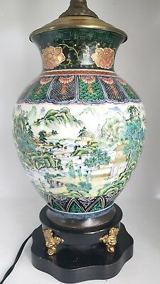 Antique Japanese Kutani Porcelain Lamp Village Sea Paintings Gold Gilt Accents