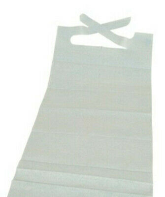 """CASE OF 300! Disposable Adult Lap Bibs With Ties White 16"""" x 33"""" *BULK DEAL*"""