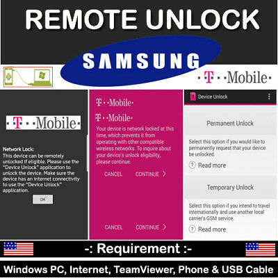 New Security Samsung Galaxy T-Mobile S8/S8 Plus Device Unlock App Remote Service