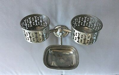 Antique Nickel Brass Double Cup Holder Soap Dish Holder Old  Vtg Bath  134-18J