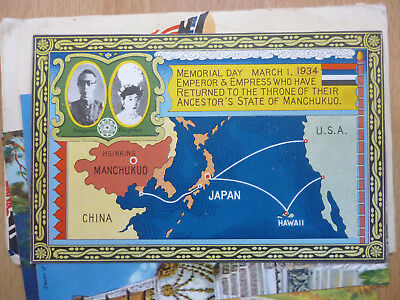5 Postcards From Manchukuo Manchuria China 1934 With Original Envelope