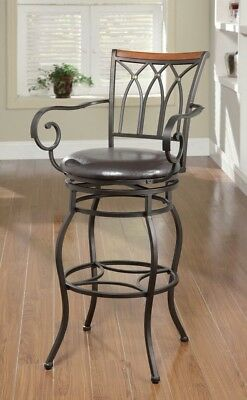 """Antique 2pc Set Dining Chairs Bar Stools 29"""" Decorative Metal Padded Black Seat"""