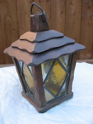 Vintage oak and stained glass outdoor light/lamp