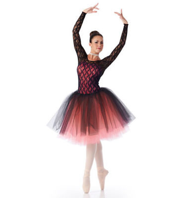 Cicci Ovation Long Sleeve Romantic Tutu Dance Costume, Black Lace/Pink, Adult XL