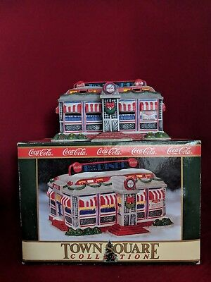 Coca Cola Porcelain Lighted Diner Town Square Collectible Restaurant Christmas