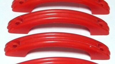 Pair Splendid Red Plastic Art Deco Chest Drawers Door Pull Handles 1950's