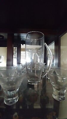 Vintage Martini/Cocktail Glass Pitcher with 6 Glasses