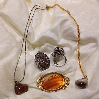 Vintage Natural Stone Agate Pendant Ring Brooch Jewelry Lot of 5