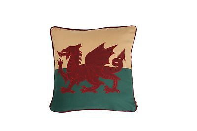 "12"" Welsh Red Dragon Wales Flag Cymru Tapestry Cushion - Double Sided Cotton"