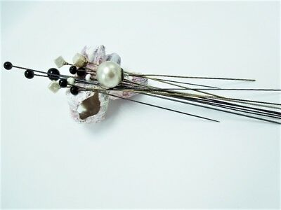 Antique Hat Pins Glass Pearls Assorted Shapes Vintage Deco Victorian Lot of 14