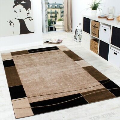 Tappeto Di Design Tappeto Per Salotto Moderno Bordo In Marrone Beige