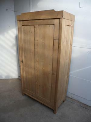 A Superbly Panelled Antique/Old Pine Kitchen Storage Cupboard to Wax/Paint