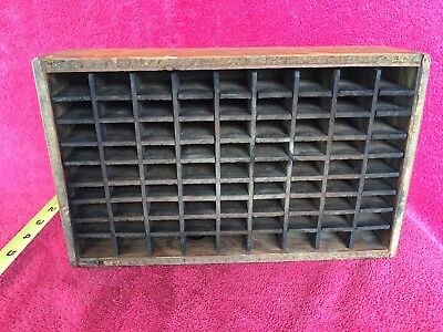 Old Vintage Wooden Wood Printer's Letter Press Drawer Tray Type Set Shadow Box