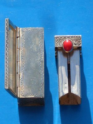Ornately Etched Lipstick Holder/Mirror Set w/Red Stone Italy .800 Vintage Silver