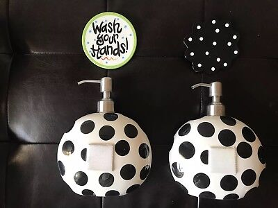 Lot Of 2 Coton Colors Happy Everything Mini Soap Pumps -Black And White