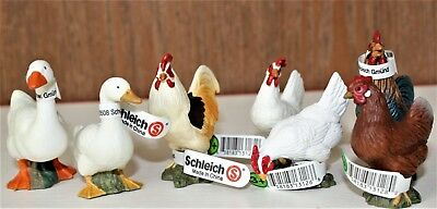 Schleich Lot of 7 Barnyard Fowl Chicken Hens, Roosters, Geese 1998-99 w/Tags