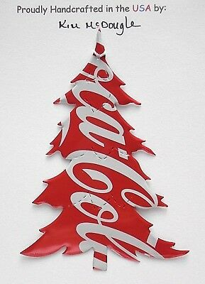 Tree Christmas Tree Ornament Handmade Recycled Aluminum Metal C Cola Soda Can