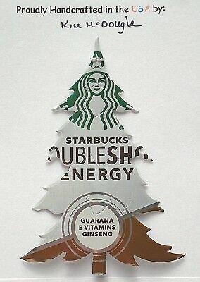 Tree Christmas Tree Ornament Handmade Recycled Aluminum Metal Coffee Energy Can