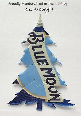 Tree Christmas Tree Ornament Handmade Recycled Aluminum Metal Blue M Beer Can