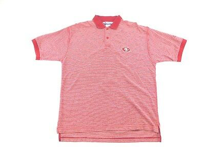 Champion San Francisco 49ers Mens Vintage Red Striped Short Sleeve Polo  Shirt L 993ff9ad3