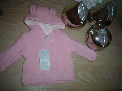 Mothercare Baby Cardigan Size New Baby In Pale Pink With Hood Christmas New £14