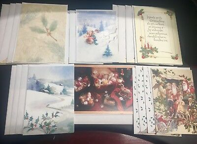 Lot Of 21 Vintage Hallmark Assorted Christmas Cards & Envelopes New Without Box