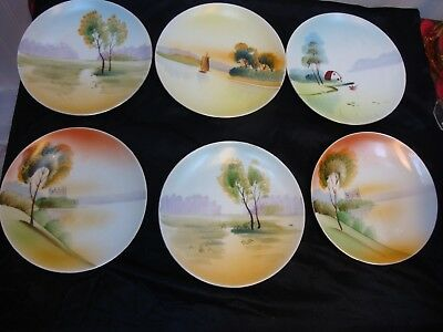 Vintage Meito Japan Hand Painted Plates (6)