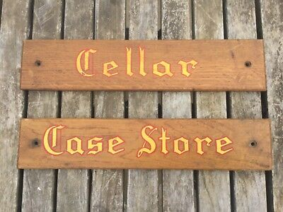 "2 x EDWARDIAN OAK  WINE CELLAR SIGNS = CELLAR & CASE STORE 14"" LONG"