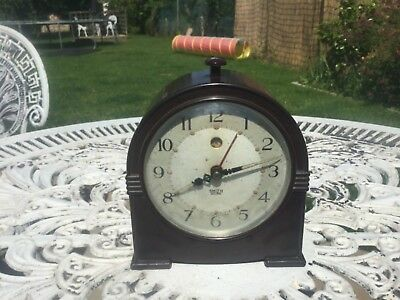 "Art Deco Black  Smiths Sectric Electric Bakelite Alarm Clock. 5"" high"