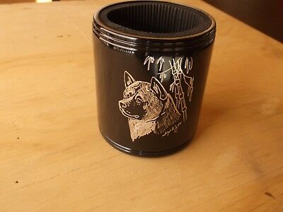 Akita- New item- Hand engraved Stainless Can Cooler by Ingrid Jonsson