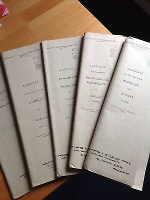 Set Of 5 Sets Of Accounts From 1937 Onwards For Estate Robert Cardwell.